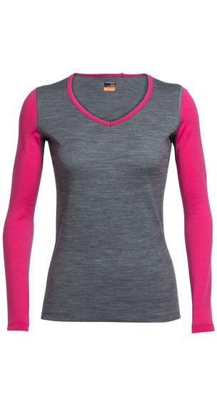 Icebreaker Oasis LS Shirt Women gritstone hthr/pop pink